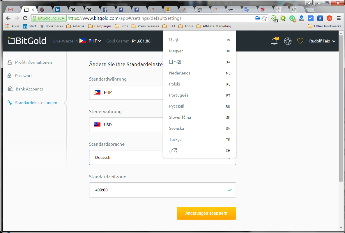 BitGold offered languages