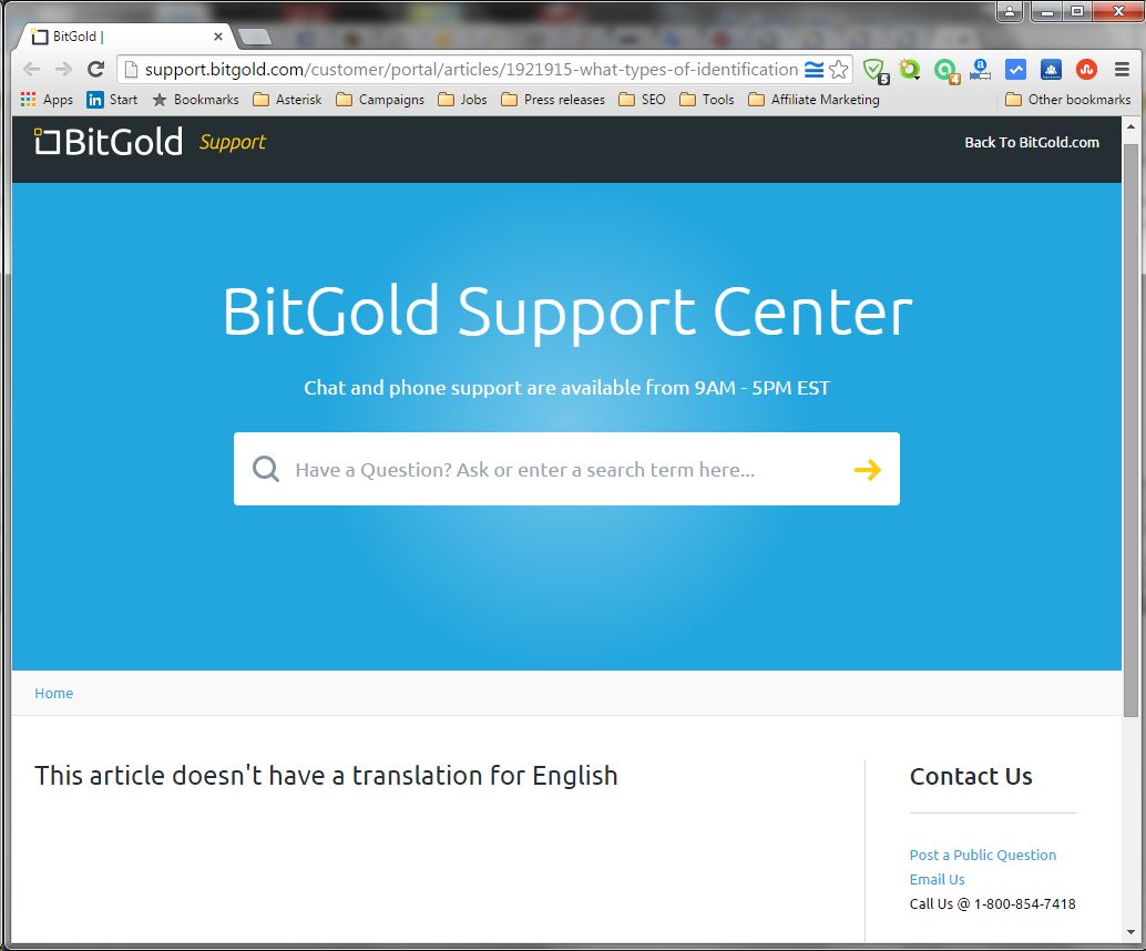 BitGold support center