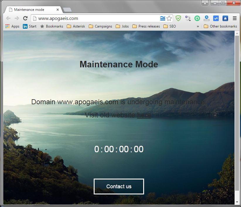 Homepage in maintenance mode