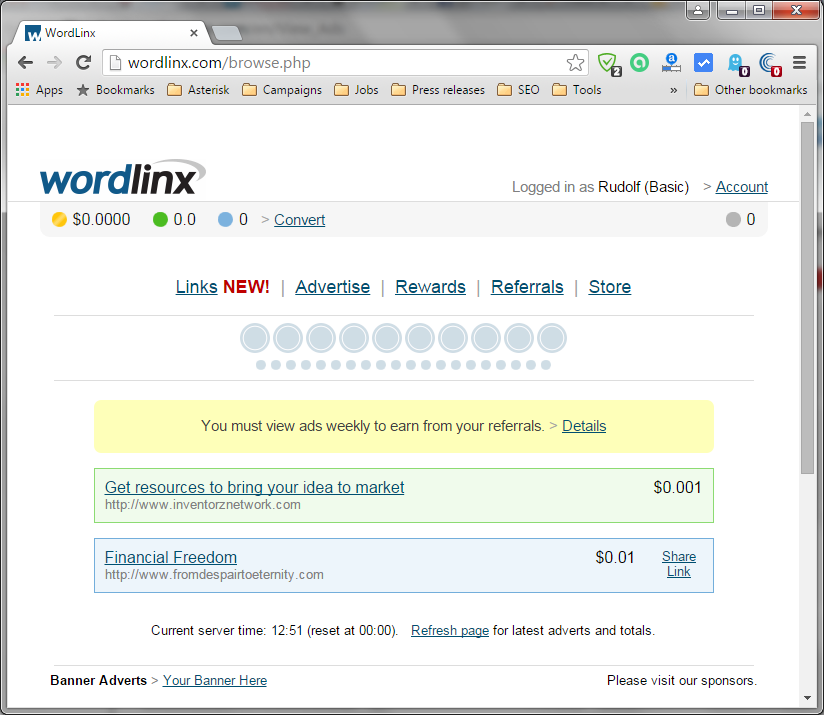Screenshot of the PTC page from wordlinx.com