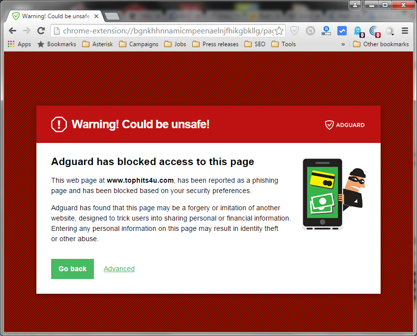 Adguard warning from tophits4u.com, a well-known phishing page