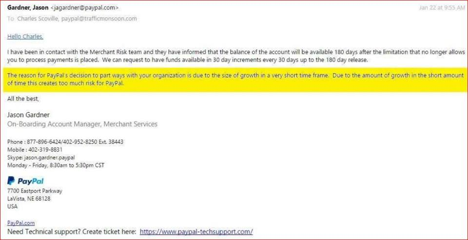 Paypal account termination notice