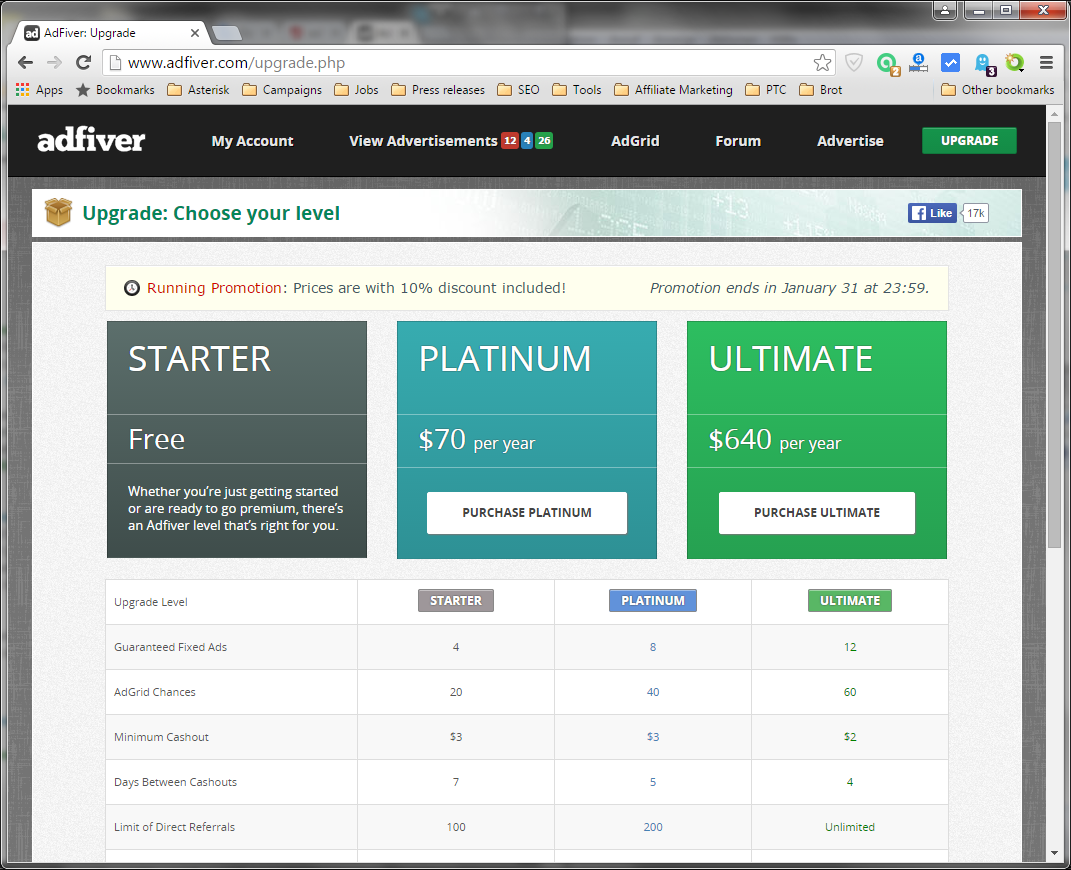 Screenshot with membership prices