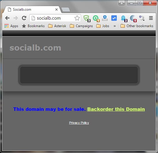 "Website socialb.com with the message; ""This domain may be for sale"""