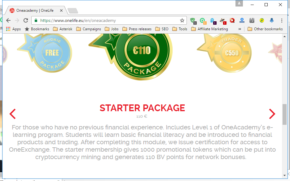 Screenshot from the OneCoin's starter package