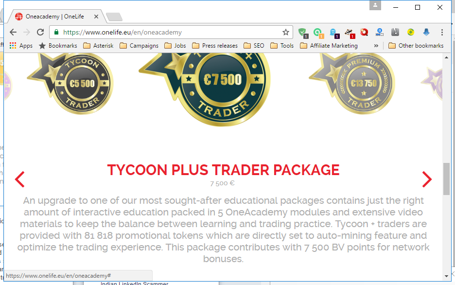 Screenshot from OneCoin's Tycoon Plus Trader Package